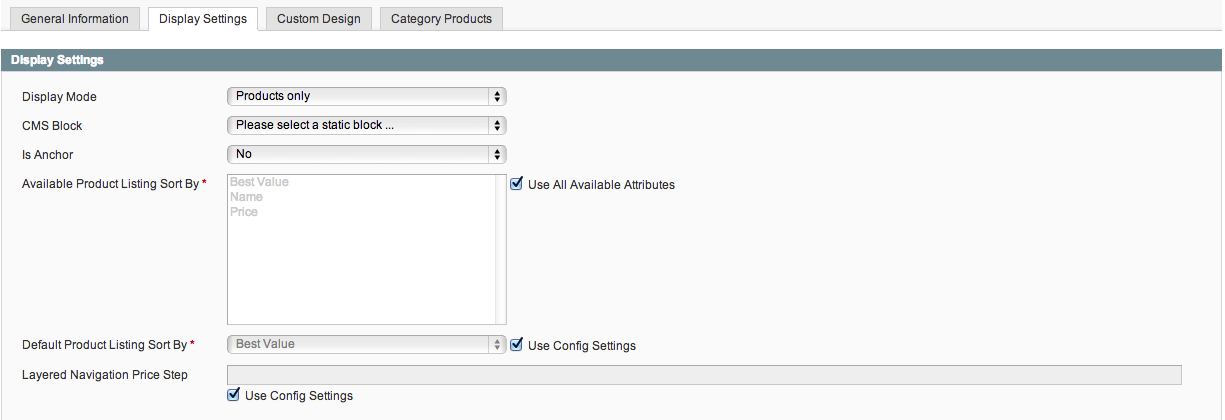 Magento Categories Display Settings