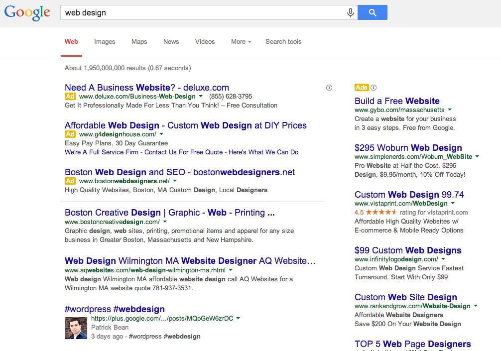 Web Design Google Search Results