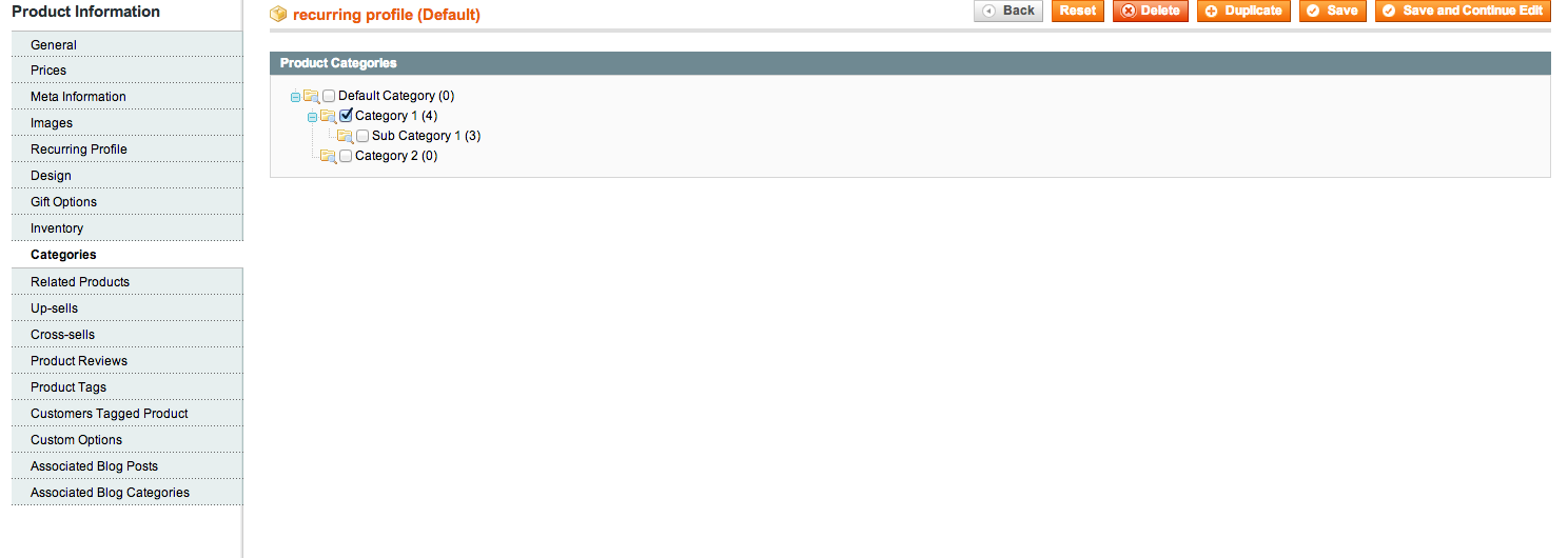 Magento Product categories