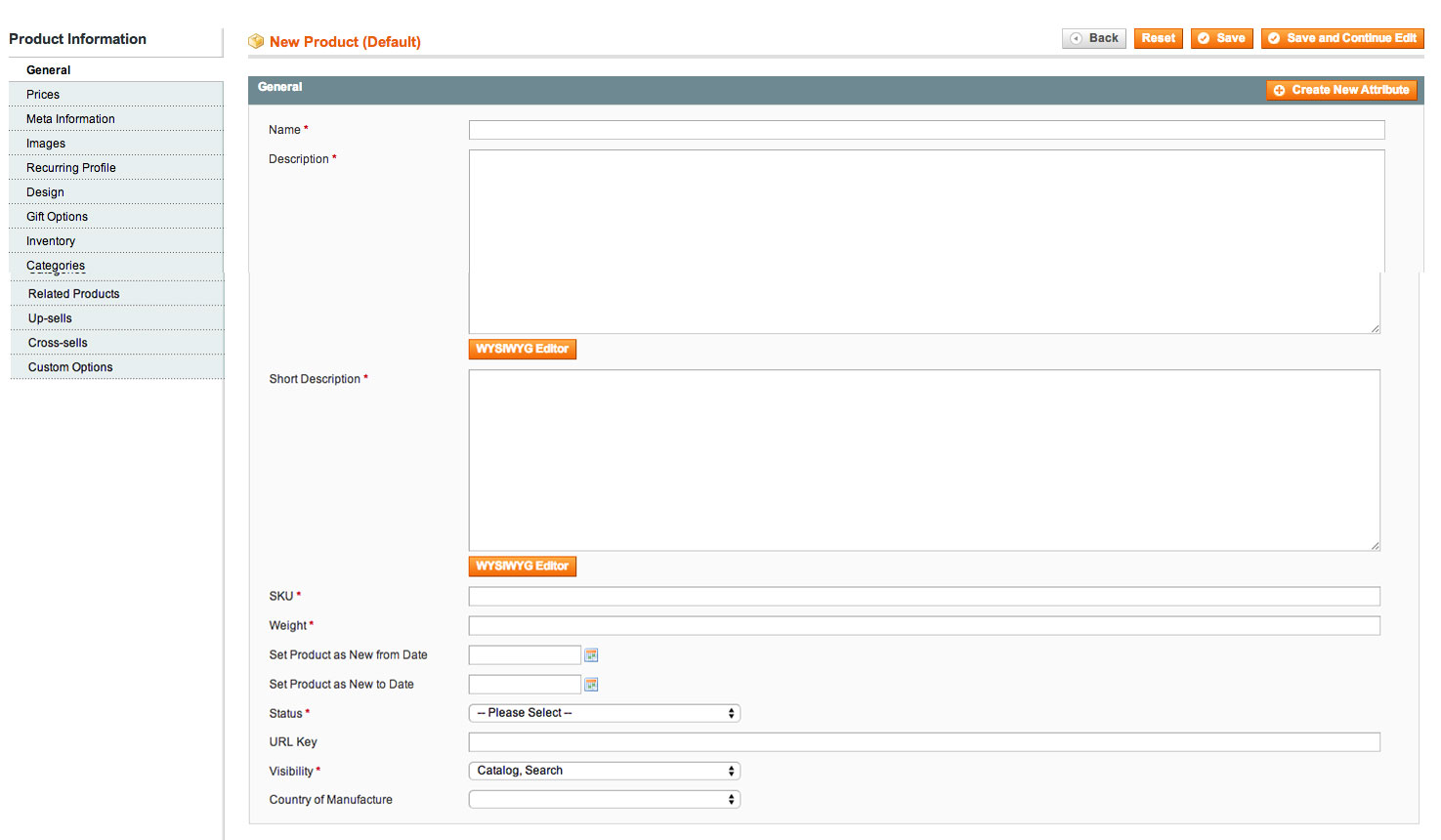 Magento Products General Information