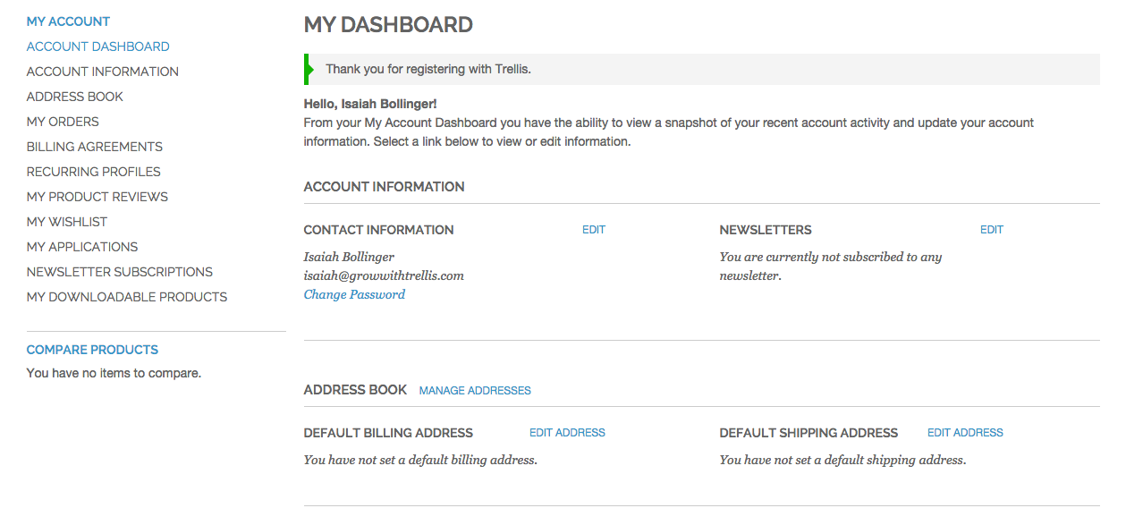Account Dashboard Magento