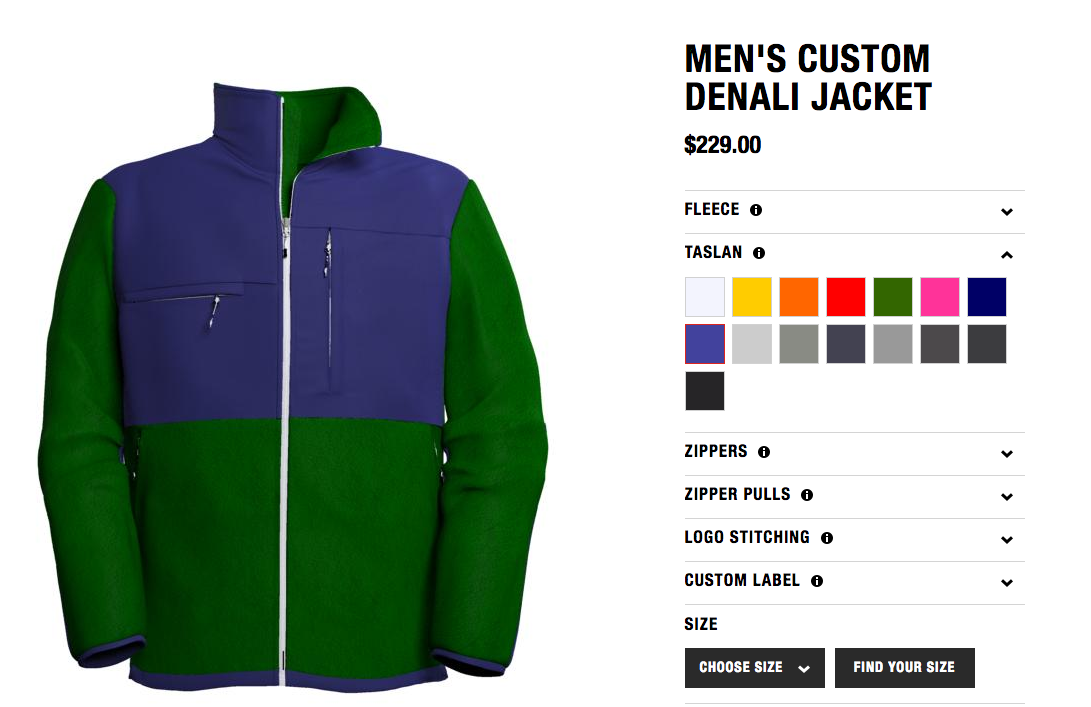 north face product customizer