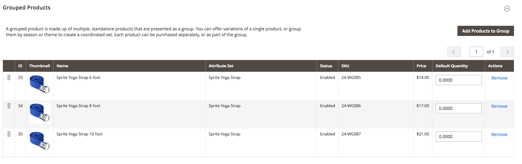grouped product magento 2 admin panel