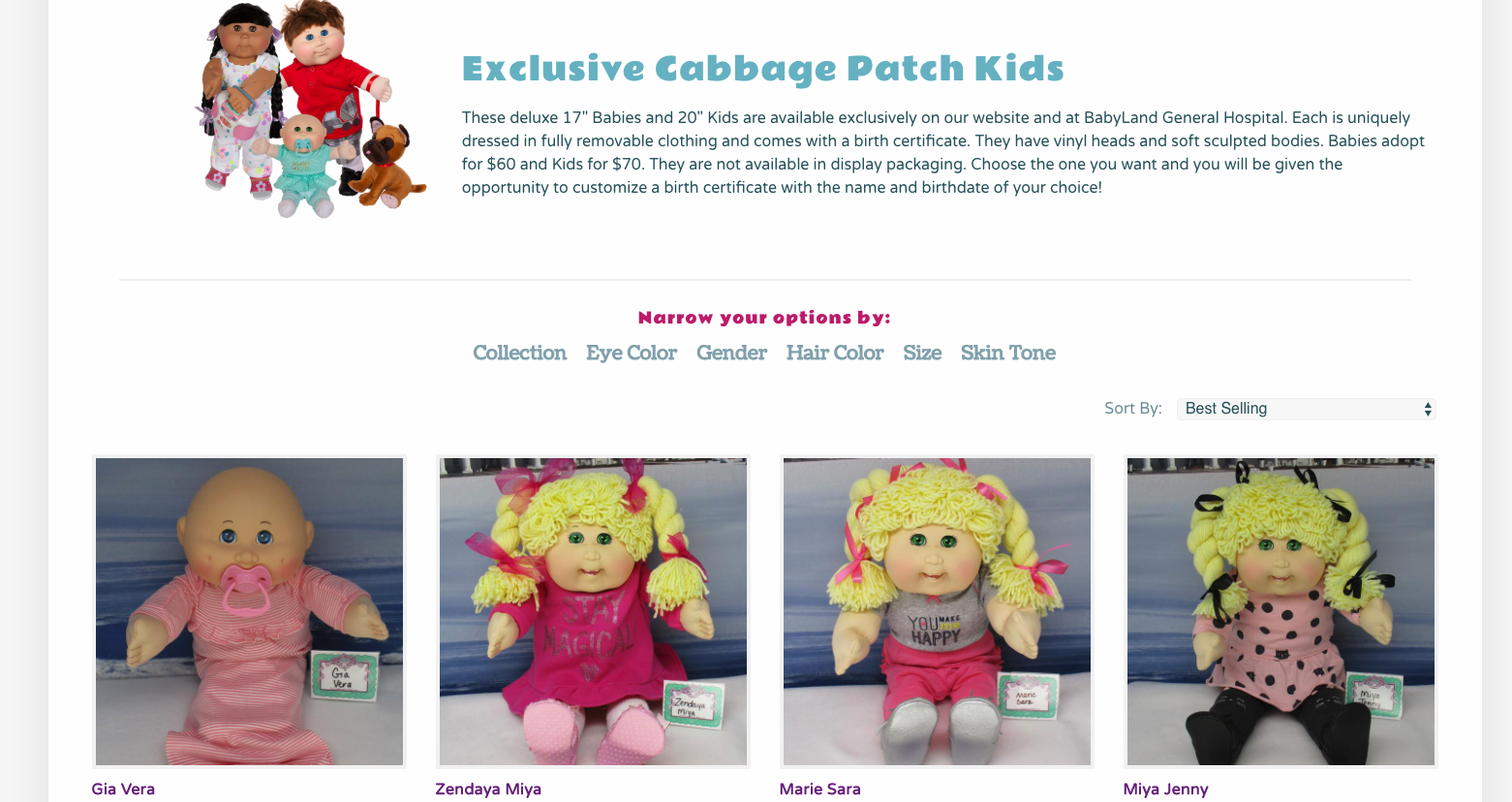 cabbage patch kids products
