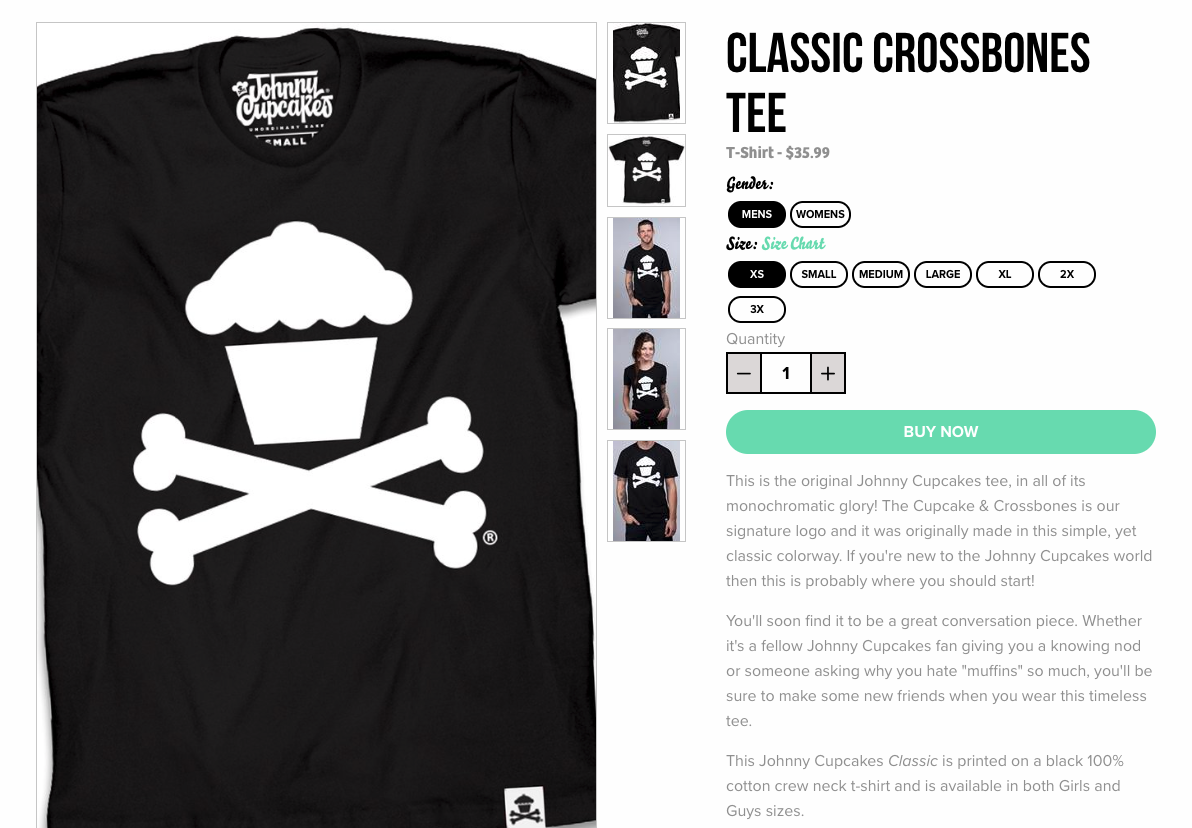 johnny cupcakes product page